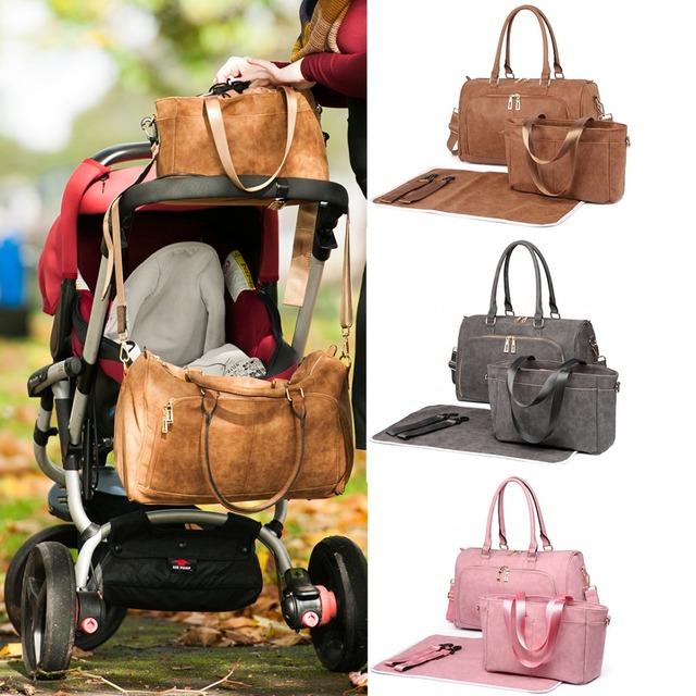 7435b23975d8a Miss Lulu 1 Set Baby Changing Bags Diaper Nappy Bags Maternity Mummy  Handbag PU Leather Tote Nursing Wet Clean Bags LT6638