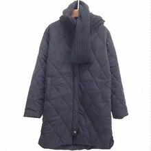 Women's Winter Quilted Coat Long Sleeve Packable Full Zip Vintage Diamond Female Basic Winter Fleece Jacket With Scarf