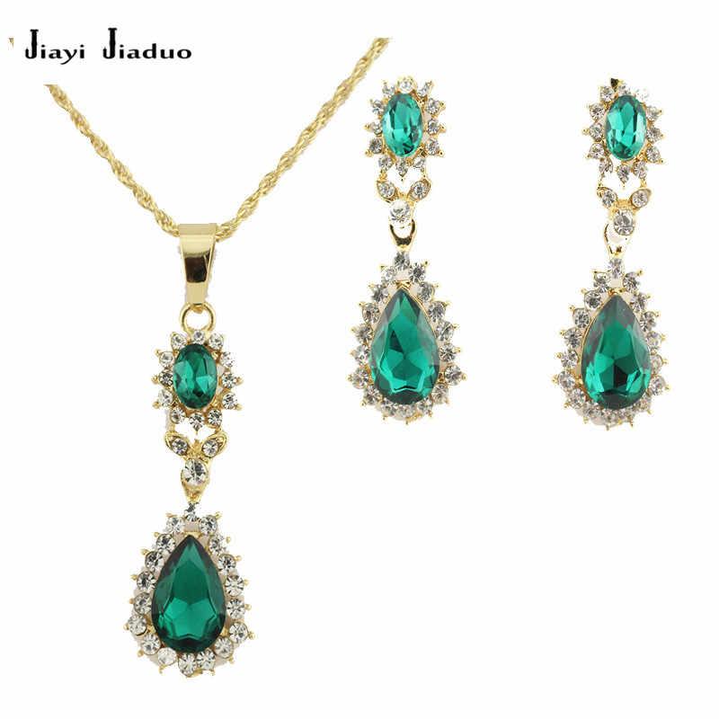 JiayijiaduoVintage bijoux de mariée ensembles pour femmes fleur pendentif Antique couleur or collier boucles d'oreilles ensemble de bijoux de mariage ensembles