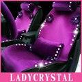 Ladycrystal Пользовательские Мягкий Теплый Короткие Плюшевые Автомобилей Чехлы На Сиденья Авто Аксессуары Горный Хрусталь Чехол Фиолетовый Цветы Автомобилей Поддерживает