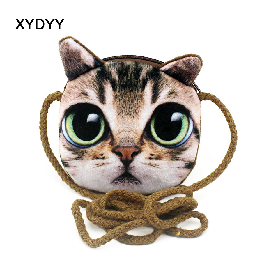 XYDYY Kawaii 3D Cats Dogs Animal Prints Kids Coin Purse Girls Plush Shoulder Wallet Change Pouch Boys Mini Messenger Pouch Bag