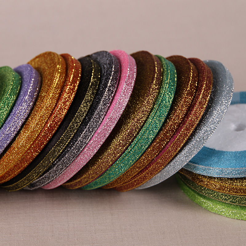 """1/4"""" (6mm) 25yards Gold Silver Metallic Glitter Ribbons For DIY Crafts Sewing Fabric Christmas Party Wedding Supplies Gift Wrap"""