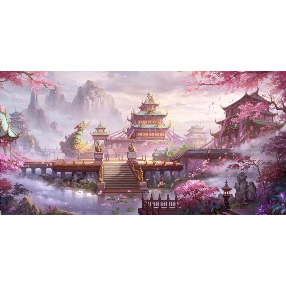 Old Street Home Diamond Painting Temple DIY 5D Full Drill Cross Stitch Kits round Rhinestone Arts