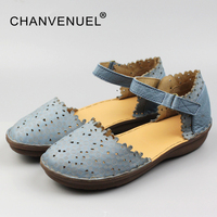 Summer Closed Toe Woman Sandals Cow Leather Hand Made Shoes For Women Cover Heels Sandals Women