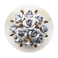 Новинка, 5 шт./лот, 22 мм, стразы в виде цветка, пуговицы, сделай сам, металлические стразы, цветы, аксессуары, смола, роза, свадебное украшение, кнопка