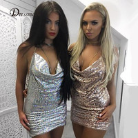 2016 Sexy Christmas New Year Carnival Party Dress Straps Deep V Neck Chain Mini Sequined Dress