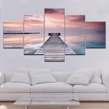 Canvas Paintings Home Decor 5 Pieces Sunset Glow Wooden Bridge Landscape Picture Modular Prints Poster For Living Room Wall Art sunset wooden bridge waterproof wall tapestry