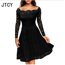 JTCY 2018 Black Sexy Slim Hollow Out Lace Women Dress Long Sleeve Off Shoulder Swing Ladies Dress Spring Club Dress Vestidos wildpinky hollow out off shoulder dress long sleeves white lace dress women casual sexy embroidery dress long sleeve vestidos