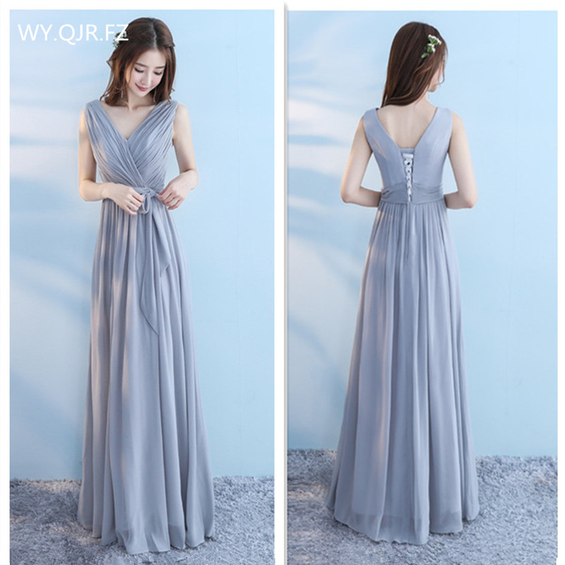 SJZL67#Chiffon lace up grey cameo brown long   bridesmaid     dresses   2017 autumn wedding party prom winter new sister   dress   wholesale