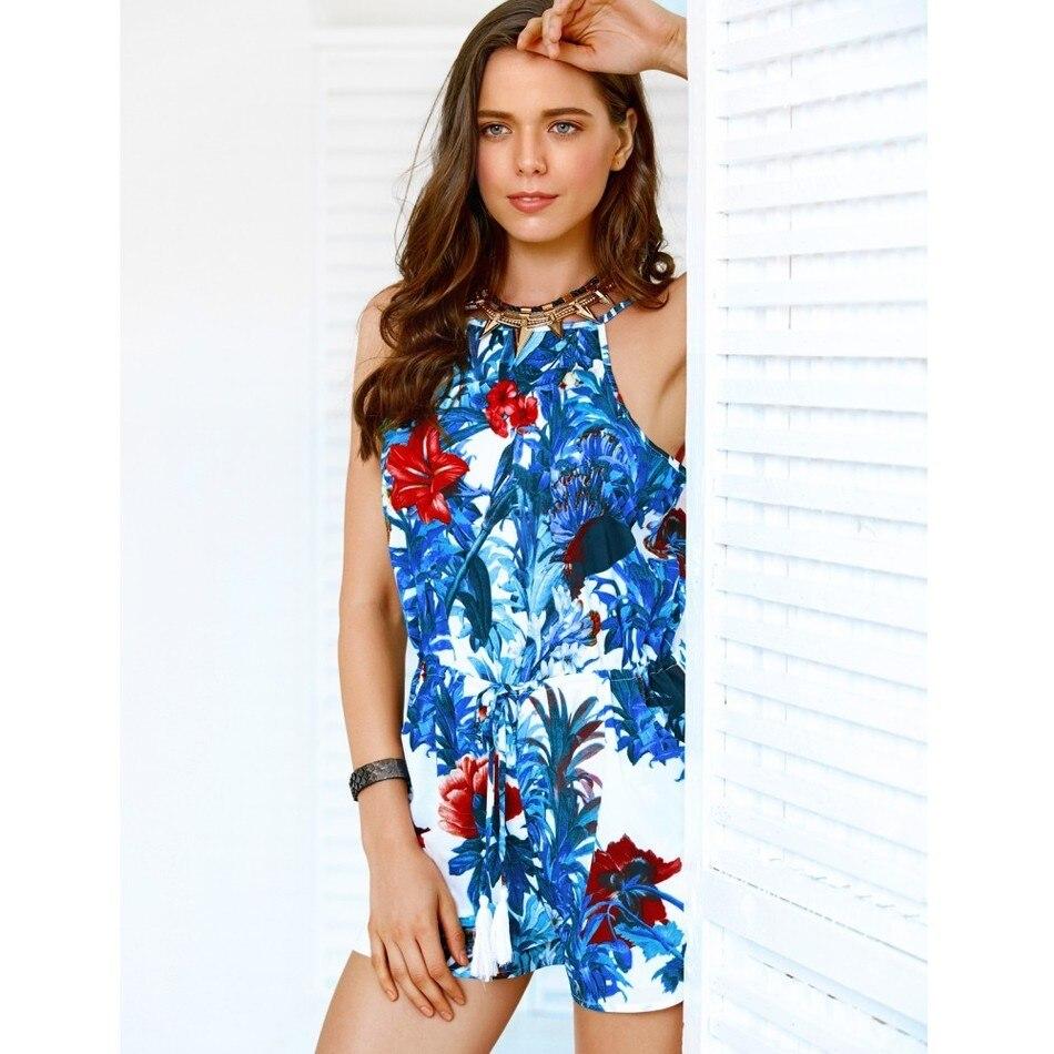 2018 Летние цветочные печатных Для женщин Короткие Комбинезоны Холтер слинг Праздник Женский Боди Sexy Boho Пляжные шорты