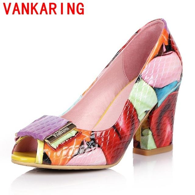Vankaring sapatos 2017 senhoras do verão moda bombas mulheres sapatos de salto alto sapatas da mulher do dedo do pé aberto bombas de escritório plus size festa de dança sapatos
