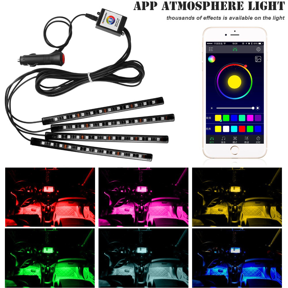 4PCS Car Blutooth APP Intelligent Control 12LED Decorative LED Atmosphere Neon Lamp Light RGB Car Footwell Light For Android IOS цены онлайн