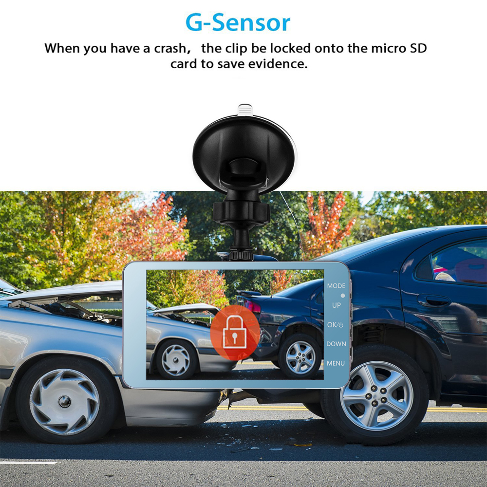 1Dash Cam New Dual Lens Car DVR Camera Full HD 1080P 4 IPS Front+Rear Mirror Night Vision Video Recorder Parking Monitor