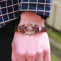 Hot Sales Rudder Design Men Bracelet & Bangle Double Layer Leather Classic Vintage Daily Sport Sailing Jewelry