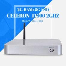 Окна 7 тонкий клиент завод клавиатура проводная вентилятор мини-компьютер celeron J1900 2 ГБ оперативной памяти 8 ГБ ssd клиент