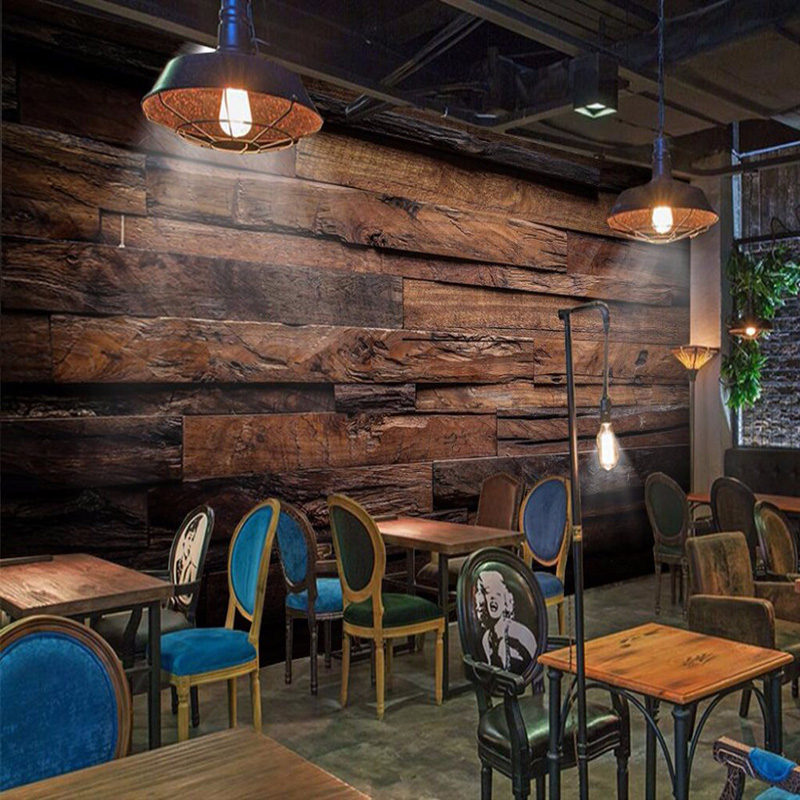 Custom Any Size Wall Cloth Retro Nostalgic Wood Panels Wood Grain Art Wall Painting Restaurant Cafe Background Wall Decor Mural