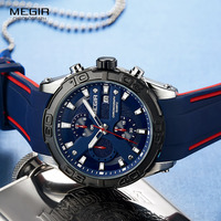 MEGIR Men's Fashion Sports Quartz Watches Silicone Strap Chronograph Analogue Wrist Watch for Man Military Casual Watch 2055BE 2