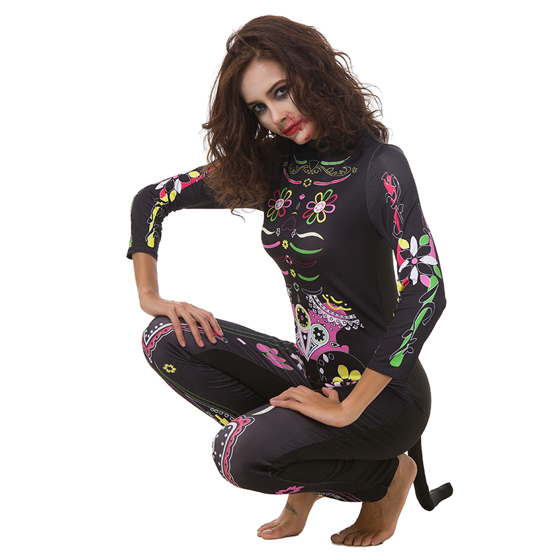 2018 New Halloween Woman Color Skeleton Costume Sexy Scary Ladies' Jumpsuits Digital Printing Feminine ghost Catwoman Clothes