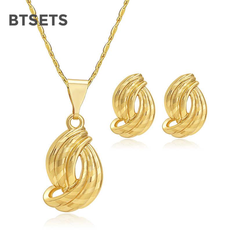 BTSETS Nigerian Hochzeit Afrikanische Perlen Schmuck Set Günstige Mode Schmuck Sets Für Frauen Gold Farbe Hochzeits Opulente Halskette Set