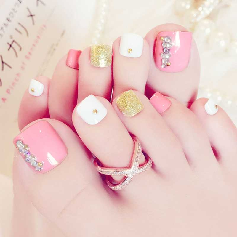 24Pcs / Set Pro Foot False Nail Tips Rhinestone Fake Toes Nails Toe Art Tool J59