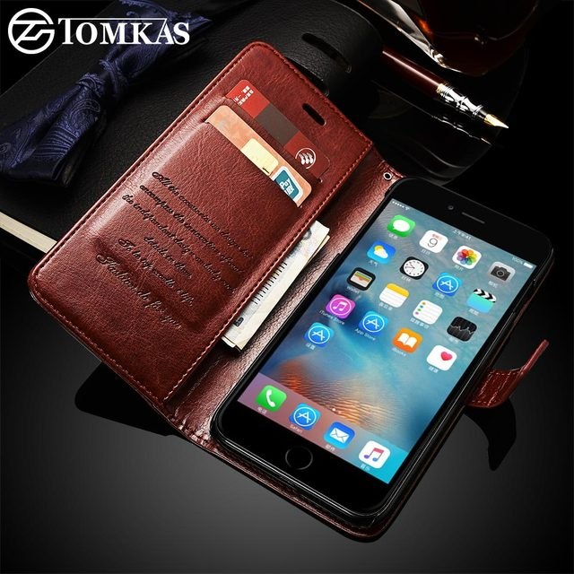 release date: 4295f 811d3 US $3.88 22% OFF|Wallet Leather Case For iPhone 6 6S Plus Luxury Coque  Cover for iPhone 6 S 6S Plus Phone Cases With Card Slot TOMKAS Brand-in  Wallet ...
