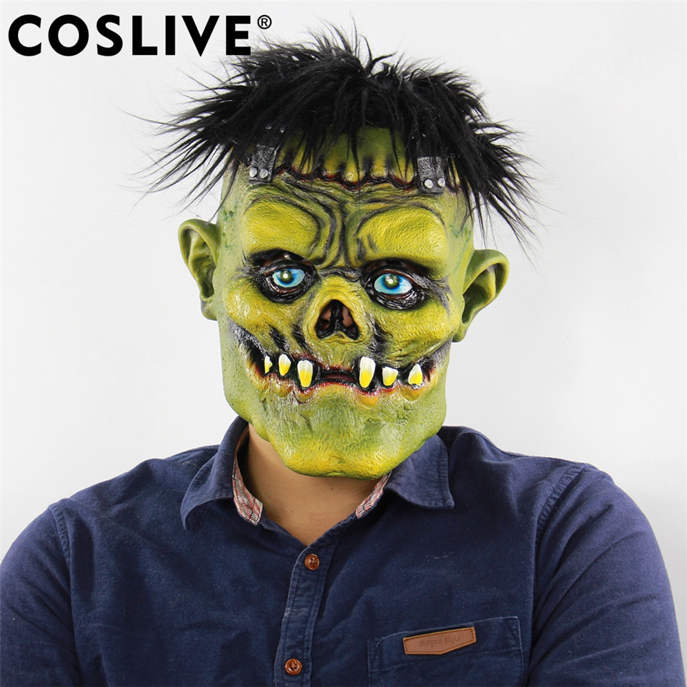 Coslive Christmas Sale Cheap Mask Helmet Cosplay Costume Accessories Horror Brunette Green Face Monster Full Head Face Masks