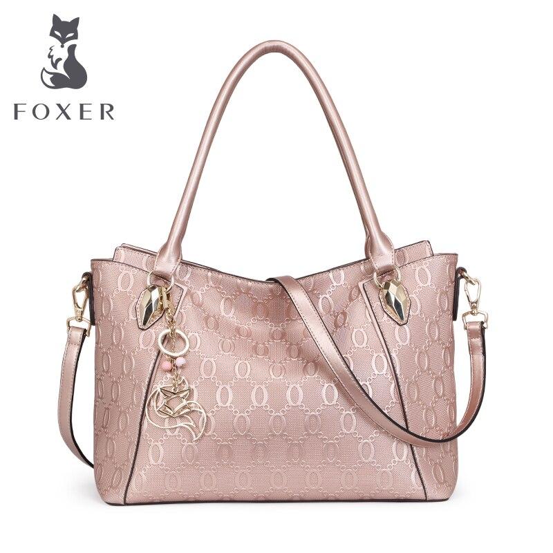 FOXER Nuevo Diseño Patrón de la Cadena de Cuero de Vaca bolso de Hombro y Bolsos