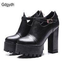 Gdgydh Oficina Primavera Zapatos de Las Mujeres zapatos de Tacón Alto 2017 Nuevo soporte para el Tobillo correa de Las Mujeres de la Plataforma Bombas Zipper Ruso Señoras Zapatos de Gran Tamaño 42
