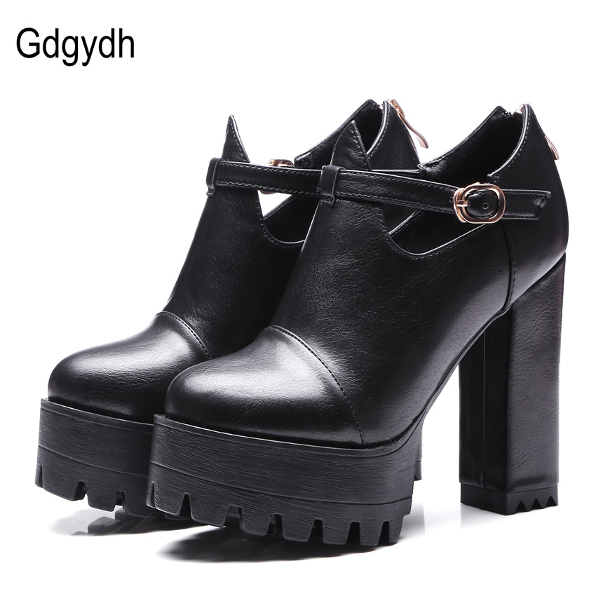 Gdgydh Spring Office Shoes Kvinder High Heels 2018 Ny Ankel Rem Platform Women Pumps Lynlås Russian Ladies Sko Stor Størrelse 42