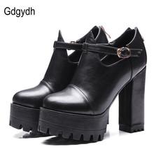 Gdgydh wiosna buty biurowe damskie buty na wysokim obcasie 2021 nowy pasek na kostkę platformy kobiety pompy zamek rosyjski panie buty duży rozmiar 42 tanie tanio T-strap Plac heel CN (pochodzenie) Super Wysokiej (8cm-up) Pasuje prawda na wymiar weź swój normalny rozmiar Urząd Lady