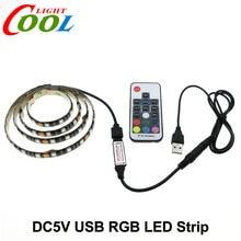 5V USB LED Strip 5050 RGB TV Background Lighting 60LEDs/m with 17Key RF Controller 50cm / 1m / 2m Set