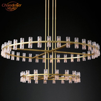 Arcachon Round Chandelier Lighting Modern Vintage Hotel Crystal Chandelier Pendant Hanging Light Restaurant Lighting