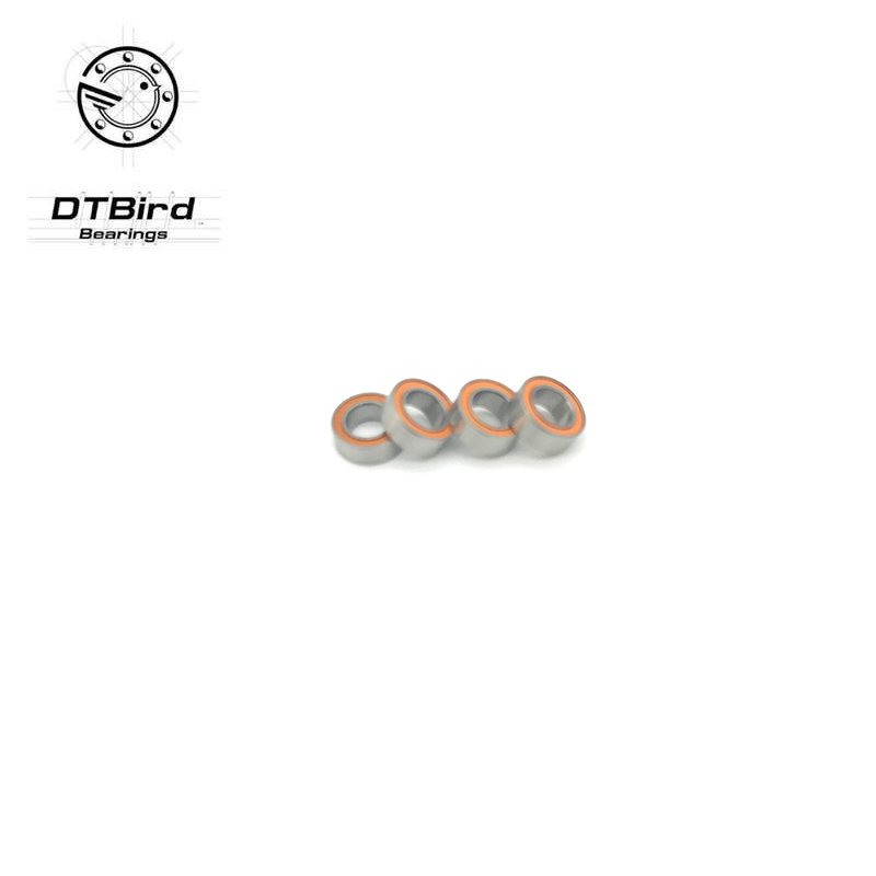 Free Shipping 4pcs 8x14x4 Hybrid Ceramic Stainless Greased Bearing SMR148C 2OS A7 Orange rubber