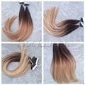 Выметание Волос Лента в Человеческих Волос Extensions Highlights Tic Tac Cabelo HumanoTwo Тон Ombre Коричневый Блондинка Лента в Расширениях BY113