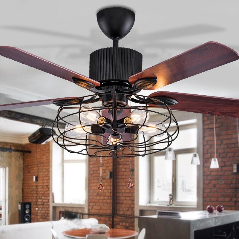 Высокое качество Лофт вентилятор люстра Ретро столовая бытовая электрический вентилятор бесшумный светодиодный вентилятор с пультом дист... - 3