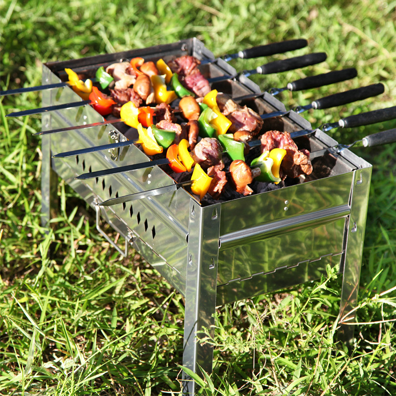 Free shipping 6PCS Wooden Barbecue Skewers Set w/Oxford Bag Long Barbecue Fork Shish Kebob Skewers For Beef Chicken Meat 21.6in