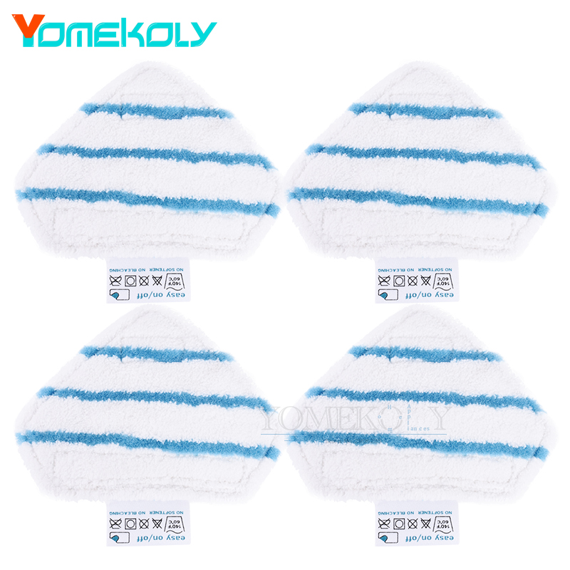 4pcs Mop Cloths for Black&Decker FSM1610/1630 floor cleaning Triangle Pads Cover Water Steam Mop Microfiber Mops 4 pcs white microfibre steam mop cleaning floor washable replacement pads compatible for x5 h20 series dust cleaner part