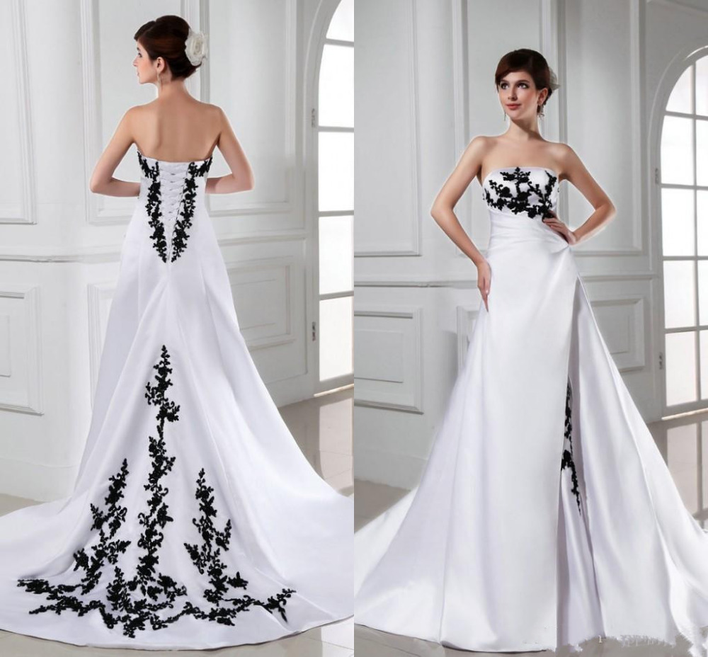Fashion 2017 wedding dresses strapless appliques black for Lace white wedding dress