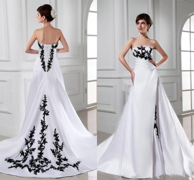 Fashion 2017 Wedding Dresses Strapless Appliques Black Lace White ...