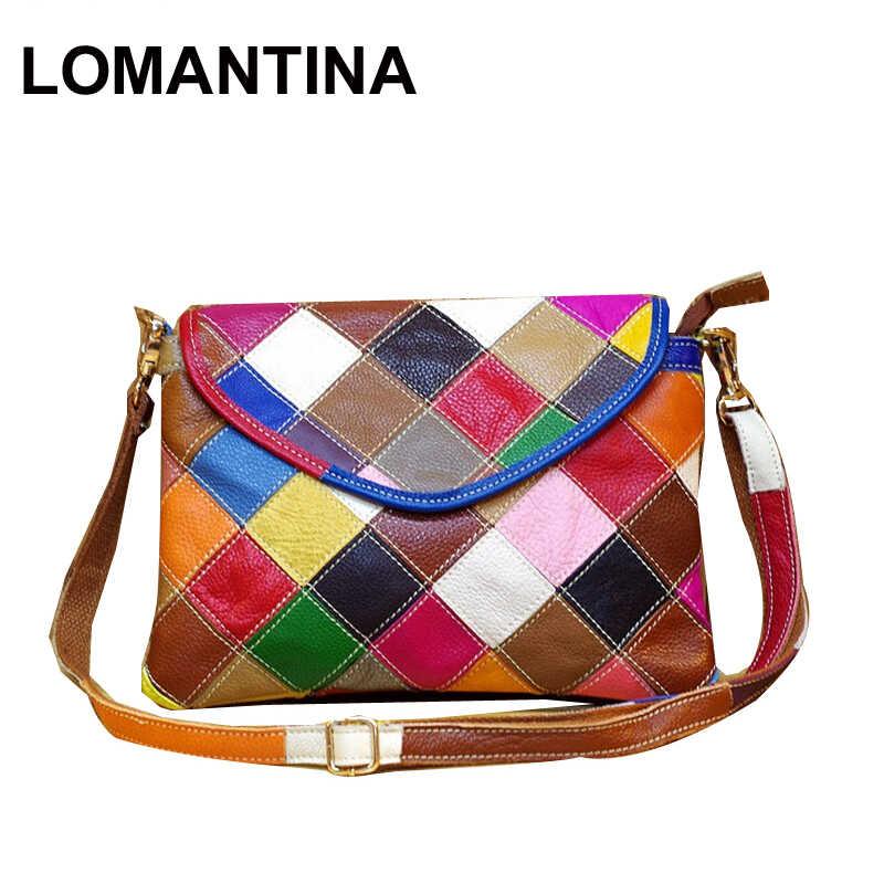 b43e3c7c7889 Genuine Leather Women s Shoulder Bag Fashion Patchwork Plaid Women Cross  Body Bags Colorful Tote Girl Messenger