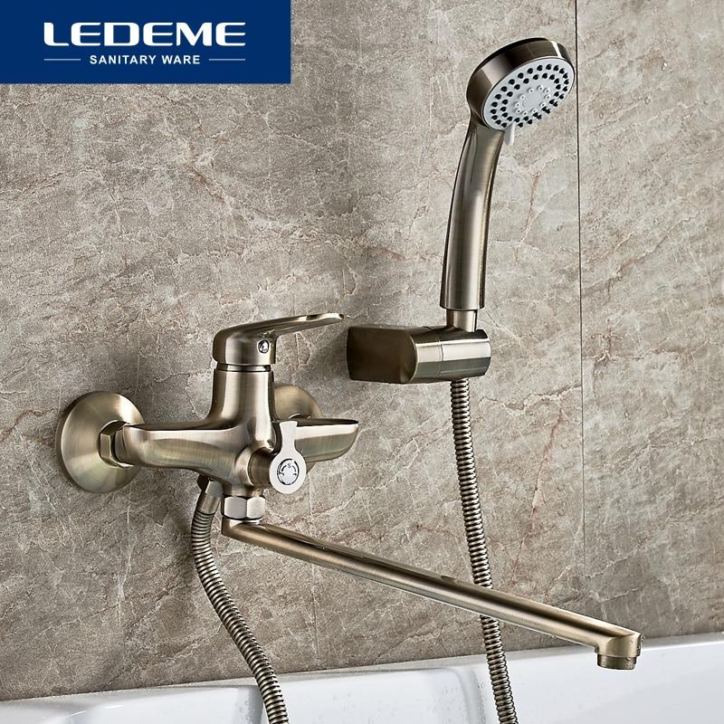 LEDEME Antique Brass Bathtub Faucet Bath Faucet Mixer Tap Wall Mounted Hand Held Shower Head Kit Shower Faucet Sets L2248C
