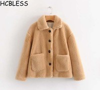 HCBLESS Autumn and winter New loose dyed lamb fur coat warm thick wool coat Lambswool coat