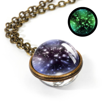 Galaxy Double Sided Pendant Necklace Jewelry Necklaces Women Jewelry Metal Color: LGS0031-Luminous