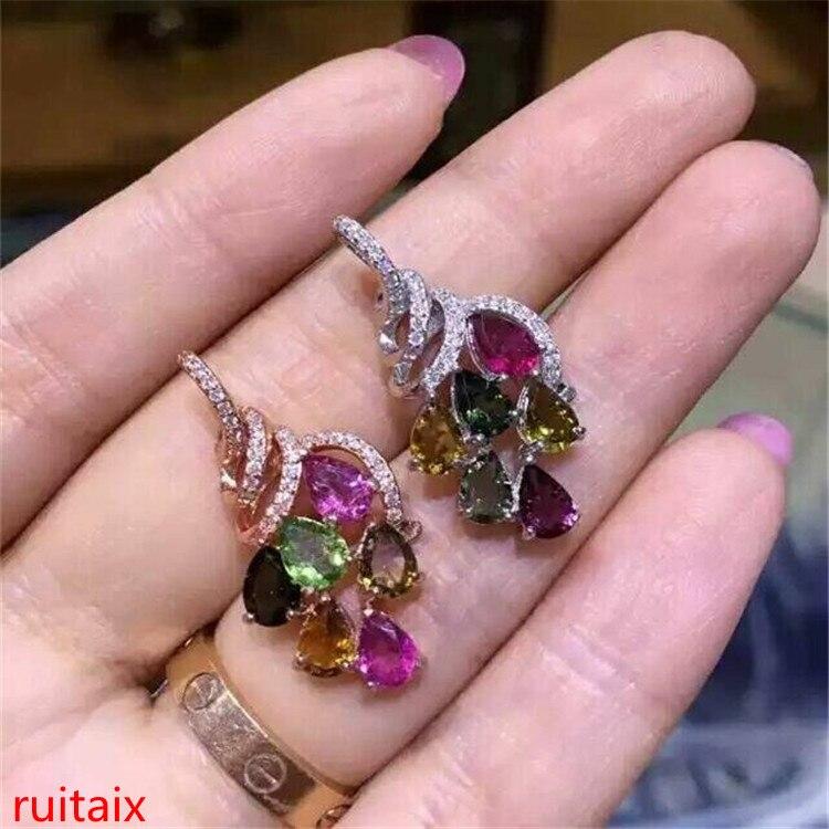 boutique jewels S925 silver rose tourmaline grape head pendant jewelry natural gem delivers box chain parcel post.