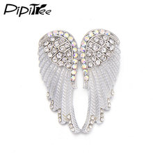 Pipitree Fashion Vintage Angel Wings Brooch Pins Women Men s Jewelry Christmas  Gift Antique Gold Color Rhinestone Brooches fd9b413fcc4e