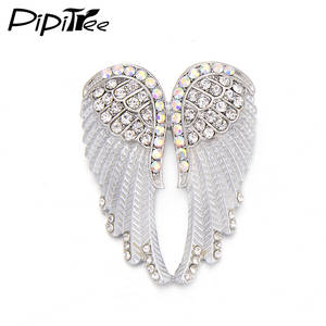 Pipitree Fashion Vintage Angel Wings Brooch Pins Women Men's Jewelry Christmas Gift Antique Gold Color Rhinestone Brooches