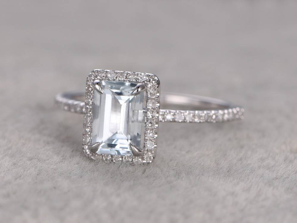 MYRAY 5x7mm Emerald Cut Natural Genuine Blue Aquamarine Stone Gemstone 14k White Gold Engagement Ring Wedding Antique Women Ring
