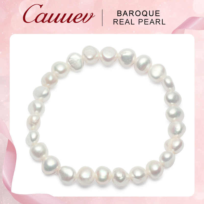 Cauuev Genuine Natural Freshwater 8-9 Baroque Pearl Bracelets Bangles For Women Vintage elastic Baroque pearl jewelry gifts 2019