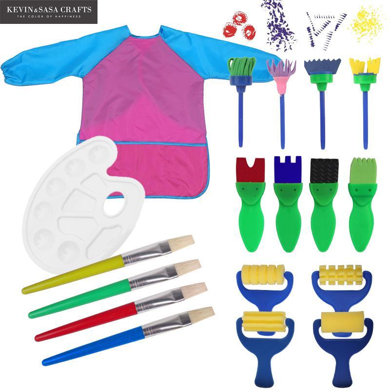 18In1 Sponge Brush Set For Kids Painting Watercolor Brush Art Supplies Great Brush Set Wooden Body With Sponge Hair School Tools sponge brush with handle