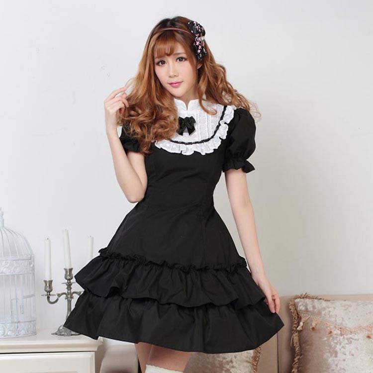 fde26e4895420 الكلاسيكي الأسود والأبيض بأكمام قصيرة الطبقات الفتاة لوليتا اللباس مع  الكشكشة شحن مجاني
